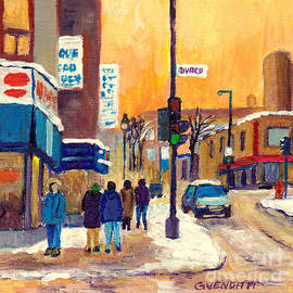 Rue Mont Royal And Rivard Montreal Winter Street Scene Paintings Plateau Mont Royal G Venditti Art by Grace Venditti