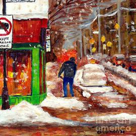 Rue Mont Royal At Dusk Montreal Winter Scene Man Shoveling  Snow Grace Venditti Canadian Artist by Grace Venditti