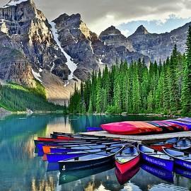 Rugged Banff Lake Moraine Terrain by Frozen in Time Fine Art Photography