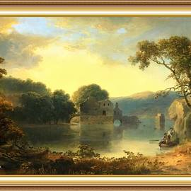 Ruins In A Landscape After The Original Painting By Thomas Tabor Doughty L A S With Printed Frame. by Gert J Rheeders