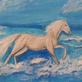 Running White Horse by Yuliya Milinska