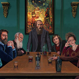 Russian Literature Giants Painting by Paul Meijering