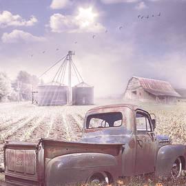 Rusty Big Blue Under Farmhouse Blue Sky by Debra and Dave Vanderlaan