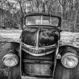 Rusty GMC Pickup Truck 1938 1939 in Black and White by Debra and Dave Vanderlaan