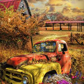 Rusty Truck in the Autumn Garden by Debra and Dave Vanderlaan