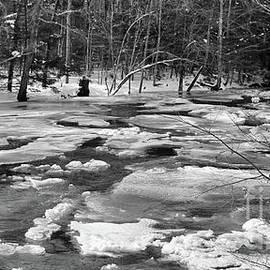 Sabattus River Panorama in Black and White by Sandra Huston