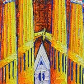 SAGRADA FAMILIA TOWERS textured impasto palette knife oil painting vertical art  Ana Maria Edulescu by Ana Maria Edulescu