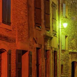 Saignon Village Street After Dark by Bob Phillips