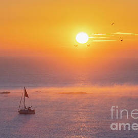 Sailboat at sunrise, Budleigh Salterton, Devon by Justin Foulkes