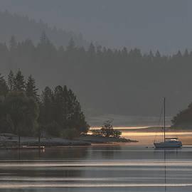 Sailboat in Smoky Gray and Gold by Joy McAdams