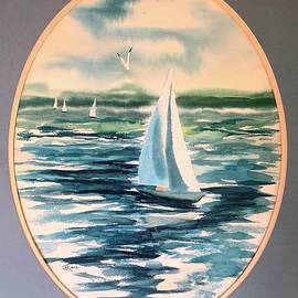 Watercolor Sailing with Lorraine Ludwig on Long Island Sound by Catherine Ludwig Donleycott