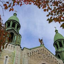 Saints-Anges de Lachine Church in Autumn by Marlin and Laura Hum