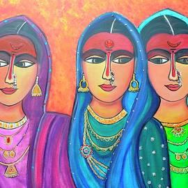 Sakhi-Friends Forever Figure Painting On Canvas by Manjiri Kanvinde