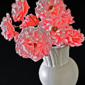 Salmon Pink Cluster Rose Bouquet by Joyce Dickens