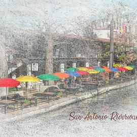 San Antonio Riverwalk - Colorful Umbrella Dining by Patti Deters