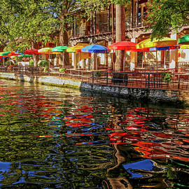 San Antonio Riverwalk Rainbow Umbrellas by Judy Vincent