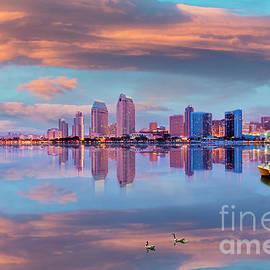 San Diego Sunset Skyline  by David Zanzinger
