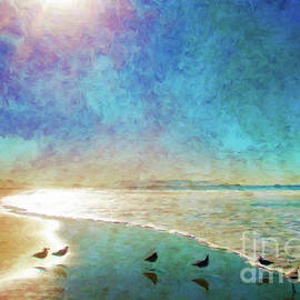 Sandpipers, Sun and Sea by Jerome Stumphauzer