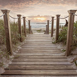 Sandy Boardwalk across the Dunes in Beachhouse Tones by Debra and Dave Vanderlaan
