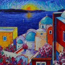 SANTORINI OIA COLORS AT SUNSET textural impasto palette knife oil painting Ana Maria Edulescu by Ana Maria Edulescu