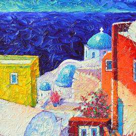 SANTORINI OIA COLORS painting detail 2 impasto palette knife oil painting by Ana Maria Edulescu by Ana Maria Edulescu