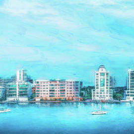 Sarasota, Florida Skyline in Blue, Painterly by Liesl Walsh