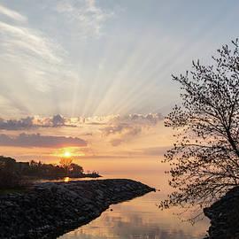 Satiny God Rays Glow - Sublime Sunrise on the Lakeshore