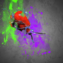 Scarlet Lilly Beetle Modern Art Colour splash  by Darren Wilkes