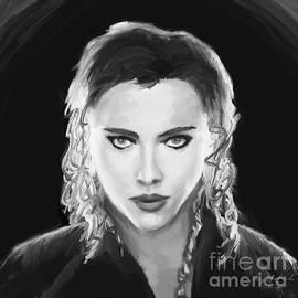 Scarlett Johansson Black Widow bw sq by Gary F Richards