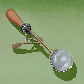 Realism Painting of Antique Ice Cream Scoop in Green and Gold  by Ann Cloutier