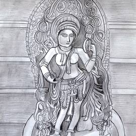 Sculpture pencil  drawing of Madanika Chennakesava temple Karnataka by Manjiri Kanvinde