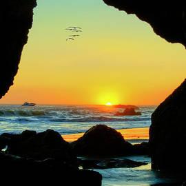Sea Cave Magnificent Sunset by David Zanzinger