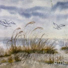 Sea Gulls and Sea Oats -- Stolen from 1970s North Ridge Raleigh NC Art Show by Catherine Ludwig Donleycott