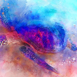 Sea Turtle - Colorful Watercolor of Hawaiian Green Sea Turtle