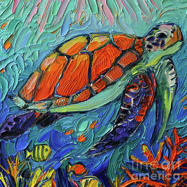 SEA TURTLE IV commissioned palette knife oil painting Mona Edulesco by Mona Edulesco