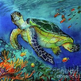 SEA TURTLE UNDERWATER watercolor painting Mona Edulesco by Mona Edulesco