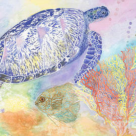 Sea Turtle with vibrant underwater scene by Susie Newman