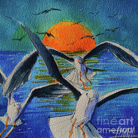 SEAGULLS IN FLIGHT commissioned watercolor painting Mona Edulesco by Mona Edulesco