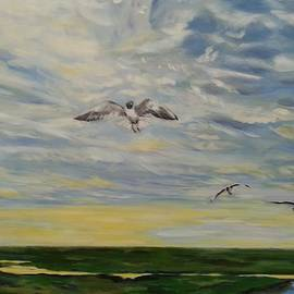 Seagulls Over The North Sea by Lamei Lepschy Bian
