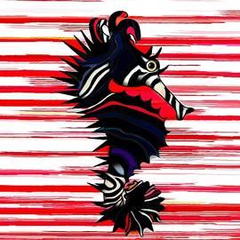 Seahorse SeaZebra Red Stripes by Joan Stratton