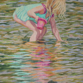 Searching for Treasure - Little Girl Playing in the River by Bonnie Mason