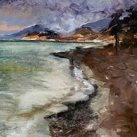 Seascape before storm painting by Vali Irina Ciobanu by Vali Irina Ciobanu