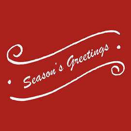 Season's Greeting On Red by Denise Harty