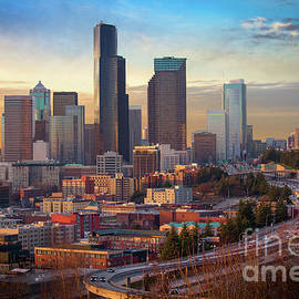 Seattle Downtown Dusk by Inge Johnsson