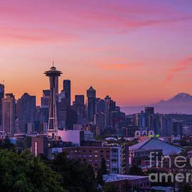 Seattle From Kerry Park Pastel Skies by Mike Reid
