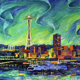 SEATTLE SKYLINE palette knife oil painting Mona Edulesco by Mona Edulesco