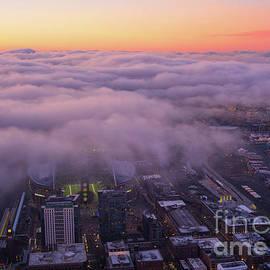Seattle Sodo Fog Layer at Dawn by Mike Reid