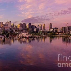 Seattle South Lake Union Sunrise Reflection by Mike Reid