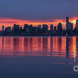 Seattle Sunrise From Alki Across Elliott Bay by Mike Reid
