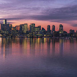 Seattles Holidays Skyline Reflection by Mike Reid
